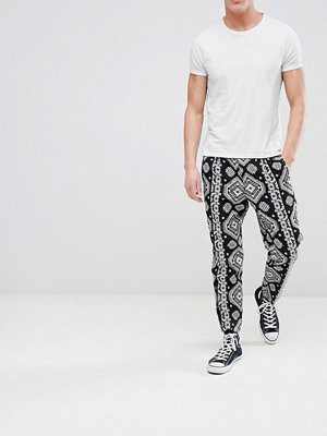 ASOS DESIGN Tapered Smart Trousers In Aztec Design - Charcoal
