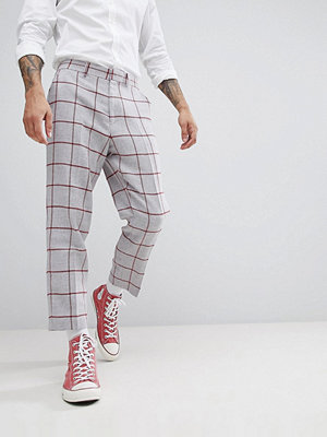 ASOS DESIGN Tapered Smart Trouser In Light Grey Wool Mix With Red Check - Light grey