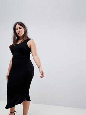 ASOS Curve ASOS DESIGN Curve maxi vest dress with scoop back and asymmetric frill hem