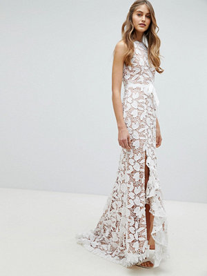 Jarlo All Over Cutwork Lace Maxi Dress With Bow Detail Waist