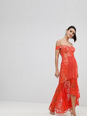 Jarlo All Over Lace Off Shoulder Fishtail Midi Dress - Tomato orange