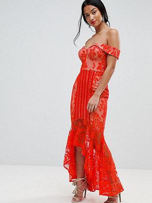 Jarlo Petite All Over Lace Off Shoulder Fishtail Midi Dress - Tomato orange