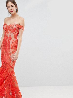 Jarlo Tall All Over Lace Off Shoulder Fishtail Maxi Dress - Tomato orange