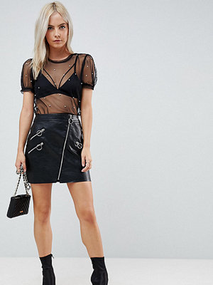 River Island Petite Leather Look Zip Detail Mini Skirt