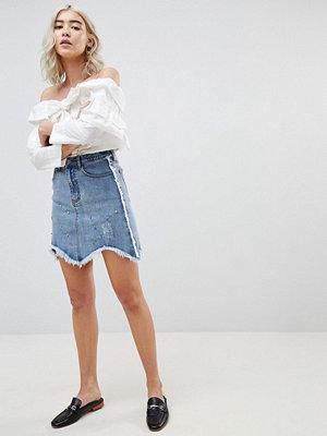 Current Air Denim Mini Skirt with Raw finish - Mid blue