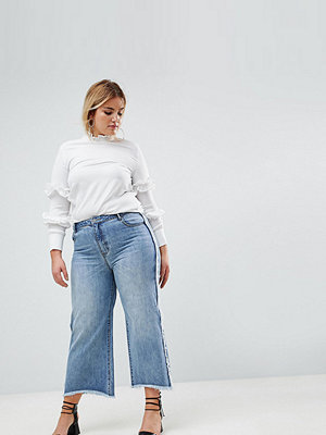 Current Air Plus Wide Leg Jean with Raw Finish - Mid blue