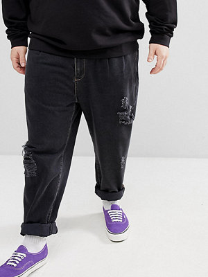 ASOS DESIGN Plus Double Pleat Jeans In Washed Black With Rips - Washed black