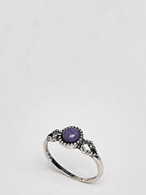 ASOS Curve ASOS DESIGN Curve Faux Lapis Stone Ring - Burnished silver