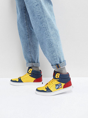 Polo Ralph Lauren Snow Beach Limited Capsule Hi Top Trainers in Yellow/ Navy / Red - Deep water/chrome