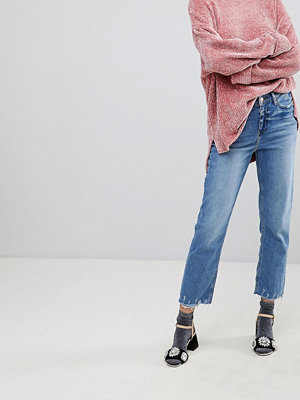 River Island Jeans med raka ben och sliten fåll Mid auth
