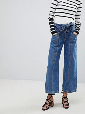 River Island Belted Crop Wide Leg Jeans - Mid auth