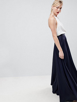 Asos Tall ASOS DESIGN Tall satin maxi skirt with centre front split - Navy