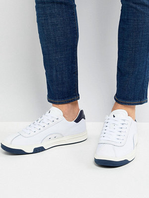Polo Ralph Lauren Performance Court 100 Trainers Leather Mesh Mix in White/Navy - White/navy