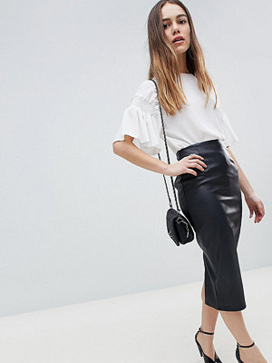 ASOS Petite ASOS DESIGN Petite sculpt me leather look midi skirt