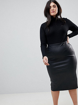 ASOS Curve ASOS DESIGN Curve sculpt me leather look midi skirt
