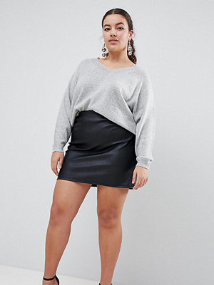 ASOS Curve ASOS DESIGN Curve sculpt me leather look mini skirt