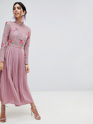 Little Mistress Embroidered Lace Top Midaxi Dress With Pleated Skirt - Mauve