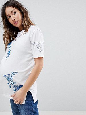 ASOS Maternity T-shirt med blombroderi