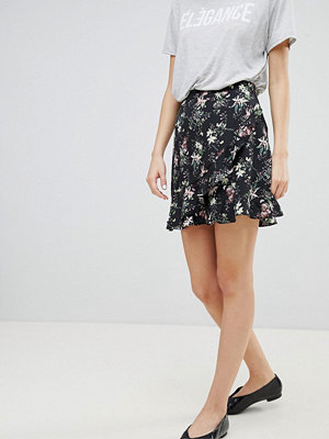 Oasis Blommig minikjol med volang fram Blåtoner