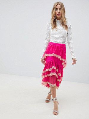 ASOS DESIGN dobby chiffon midi skirt with lace trim