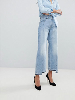DL1961 Hepburn — Korta jeans med hög midja och ojämn nederkant Oldtown