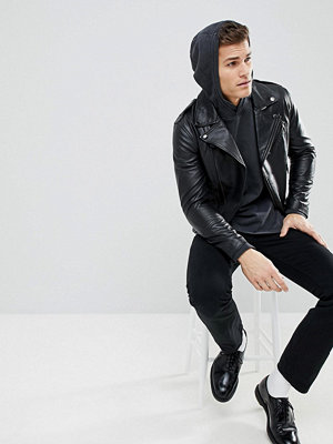 Skinnjackor - Mango Man Leather Biker Jacket
