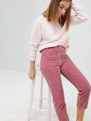 ASOS Petite ASOS DESIGN Petite High Waist Authentic Straight Leg Jeans With Back Zip Through Rise Detail In Pink