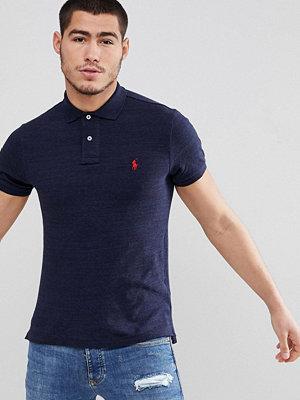 Polo Ralph Lauren slim fit pique polo player logo in navy marl - Worth navy heather