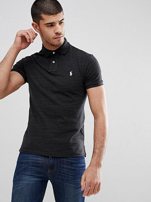 Polo Ralph Lauren Slim Fit Pique Polo in Washed Black Marl - Black marl heather