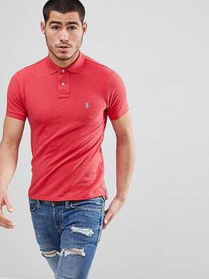 Polo Ralph Lauren Slim Fit Pique Polo in Red Marl - Century red heather