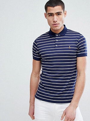 Polo Ralph Lauren Slim Fit Pima Jersey Stripe Polo Multi Player in Navy - French navy/white