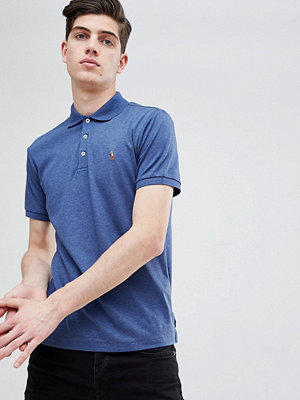 Polo Ralph Lauren Slim Fit Pima Jersey Polo Multi Player in Navy Marl - Navy heather
