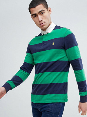 Polo Ralph Lauren Long Sleeve Stripe Rugby Polo Contrast Collar in Green/Navy - English green/navy