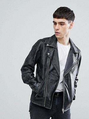 Skinnjackor - Selected Homme Selected Homme+ Distressed Leather Biker Jacket