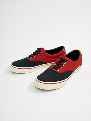 Polo Ralph Lauren Thorton Canvas Trainers 2 Colour Leather Trims in Navy/Red - Aviator navy/red