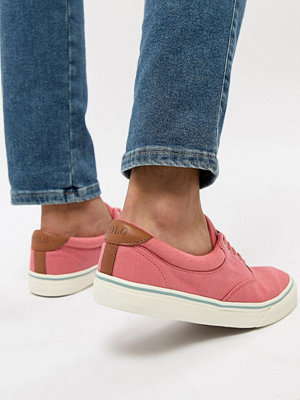 Polo Ralph Lauren Thorton 2 Pique Trainers Leather Trims in Pink - Hyannis red