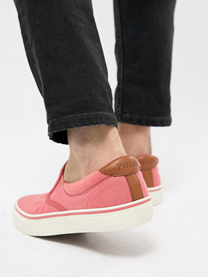 Polo Ralph Lauren Thompson 2 Pique Slip On Plimsolls Leather Trims in Pink - Hyannis red