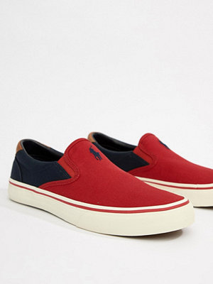 Polo Ralph Lauren Thompson Canvas Slip On Plimsolls 2 Colour Leather Trims in Red/Navy - Rl 2000 red/navy