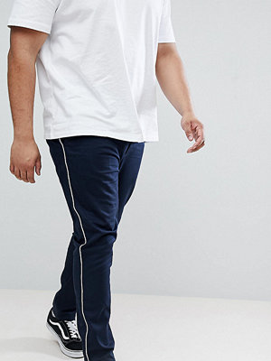 ASOS DESIGN Plus Skinny Chinos In Navy With White Piping