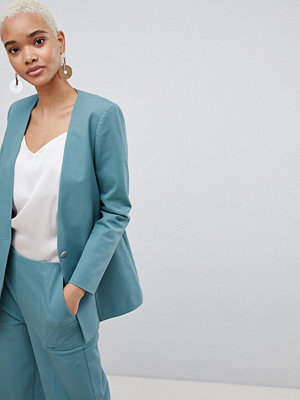 Selected 80'S Blazer With Gold Button - Teal