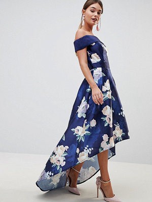 Chi Chi London Satin Midi Dress with Extreme High Low In Floral - Navy multi
