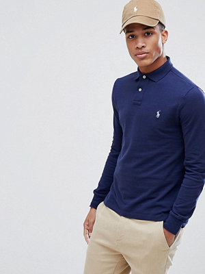 Polo Ralph Lauren Pique Polo Long Sleeve Slim Fit in Navy - Newport navy
