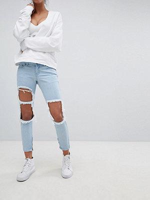 Liquor N Poker Smala jeans med extra stora slitningar på knäna Stentvätt