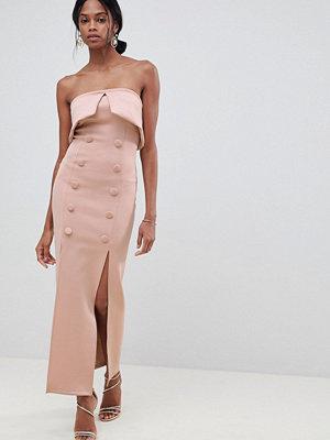 ASOS DESIGN Button Tux Scuba Bandeau Maxi Dress - Mink