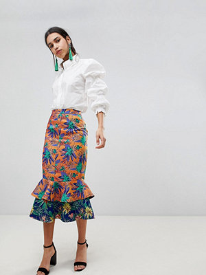 ASOS DESIGN midi skirt with double ruffe in tropical jacquard