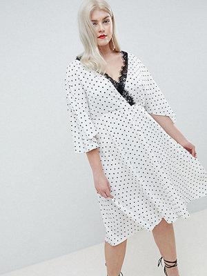 ASOS Curve ASOS DESIGN Curve Exclusive Spot Lace Trim Kimono Midi Dress