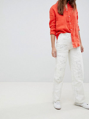 Polo Ralph Lauren High Waist Graffiti Worker Jeans - White graffiti