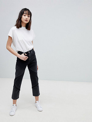 ASOS DESIGN Florence Authentic Straight Leg Jeans In Cut About Washed Black