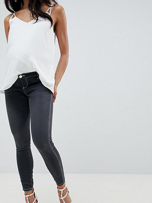 ASOS Maternity Ridley Svarta skinny jeans i urtvättad look med hög midja