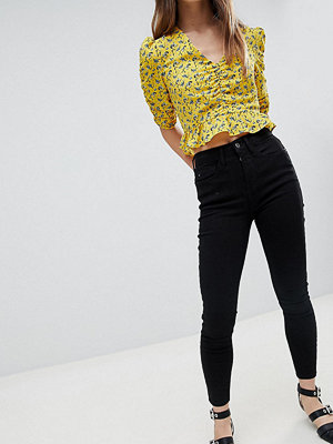 River Island Petite Harper Svarta skinny jeans med hög midja
